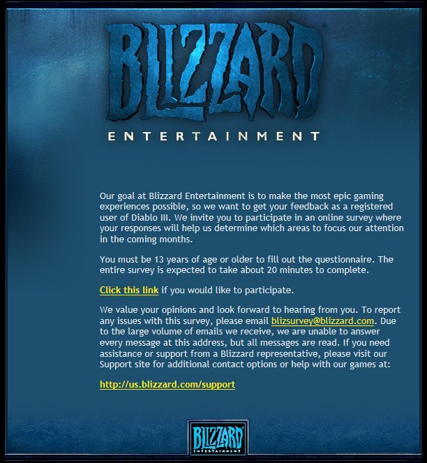Diablo III Feedback Invitation Email