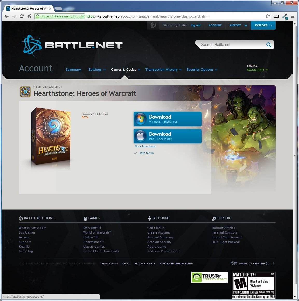 Battle.net HearthStone: Heroes of WarCraft