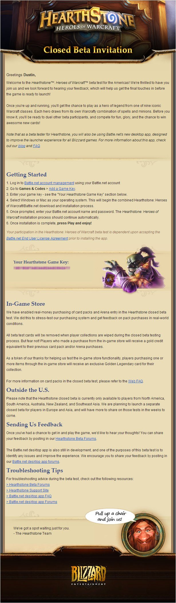 HearthStone: Heroes of WarCraft Email Beta Invitation